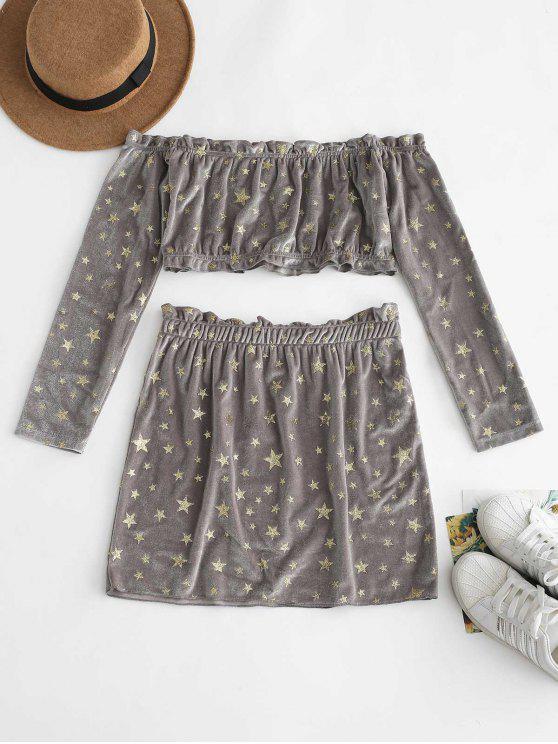 fancy ZAFUL Off Shoulder Star Pattern Skirt Set - GRAY M