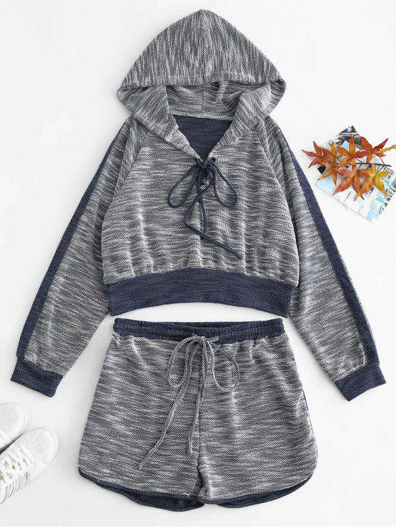 women's ZAFUL Lace Up Heather Hoodie and Shorts Set - MULTI S