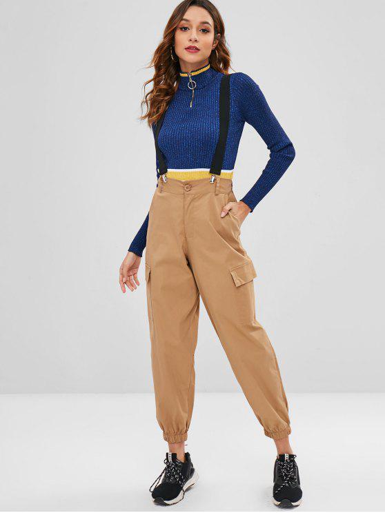 908f5144ca 33% OFF] 2019 Side Pockets Suspender Pants In KHAKI | ZAFUL