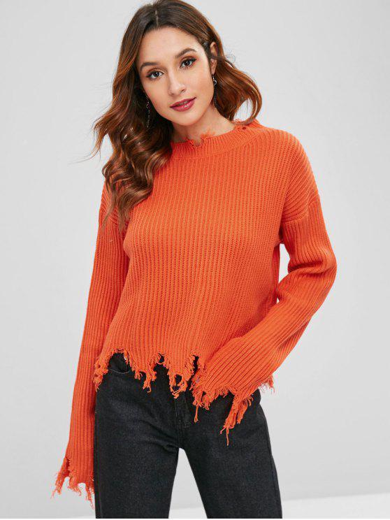 Pull Déchiré à Col Rond - Orange Papaye Taille Unique