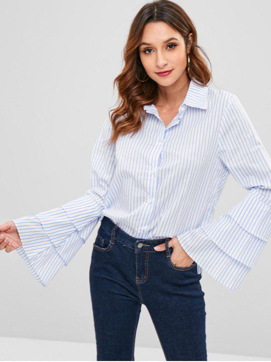 latest Striped Ruffle Bell Sleeve Shirt - MULTI S