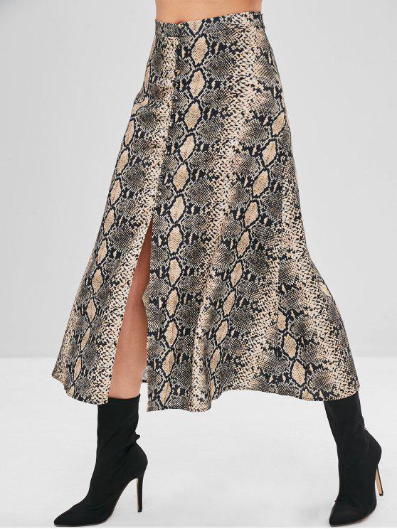 women Snake Print A Line Midi Skirt - MULTI L