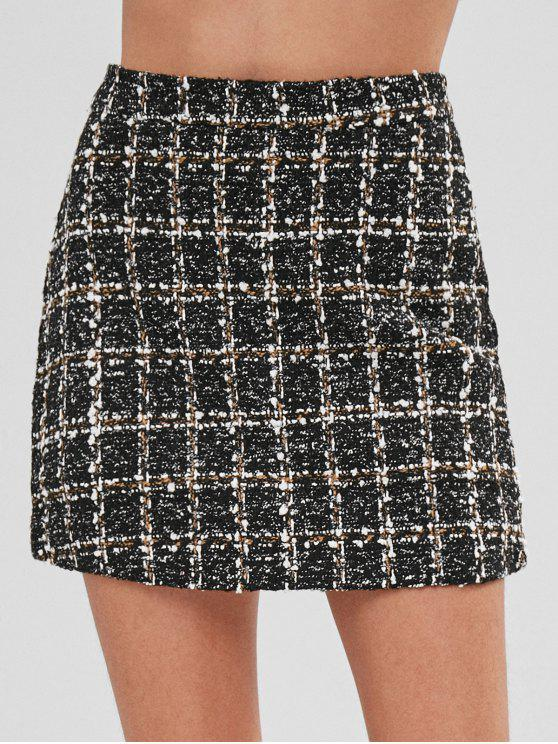new Short High Waisted Tweed Skirt - MULTI-B M