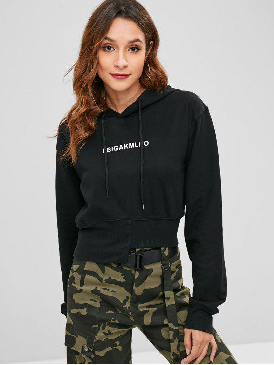 outfit Asymmetric Hem Graphic Hoodie - BLACK S