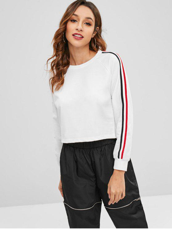 online Raglan Sleeve Striped Sweatshirt - WHITE L