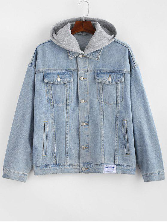 hot Detachable Hat Single Breasted Jean Jacket - SILK BLUE ONE SIZE