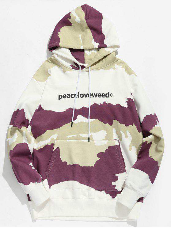 trendy Letter Print Camouflage Hoodie - VIOLA PURPLE L