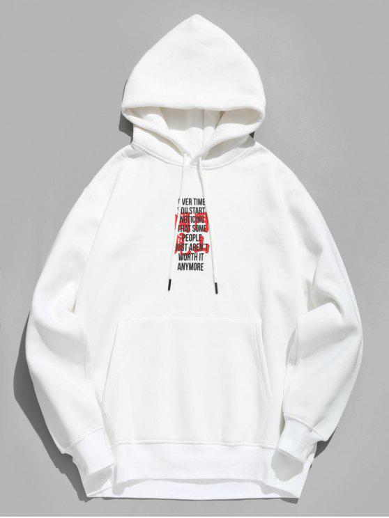 chic Character Print Fleece Hoodie - WHITE M