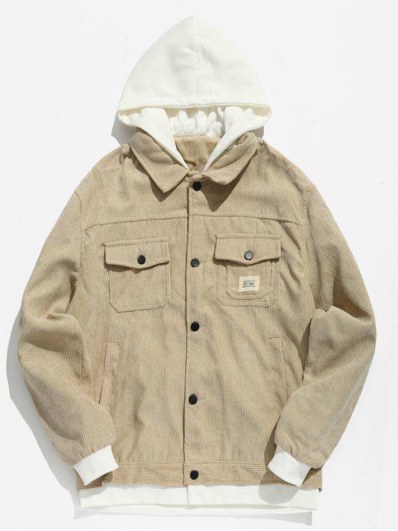 fancy Vintage Patchwork Corduroy Jacket - LIGHT KHAKI M