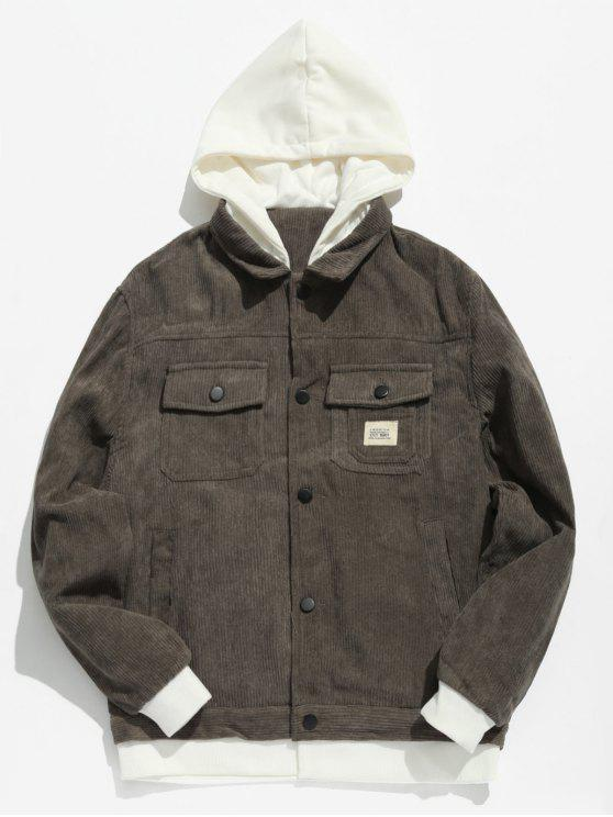 2019 Vintage Patchwork Corduroy Jacket In Dark Gray Xs Zaful
