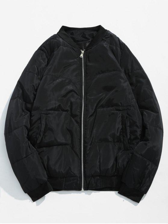 new Solid Quilted Bomber Jacket - BLACK XS