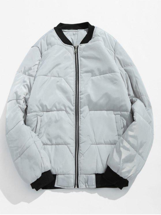 hot Solid Quilted Bomber Jacket - LIGHT GRAY M