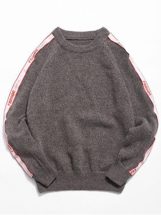 trendy Side Letter Striped Patchwork Knit Sweater - CHESTNUT 3XL