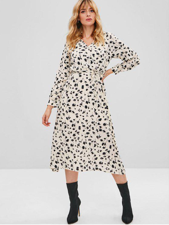 فستان كروس مزين بالزهور - متعدد M