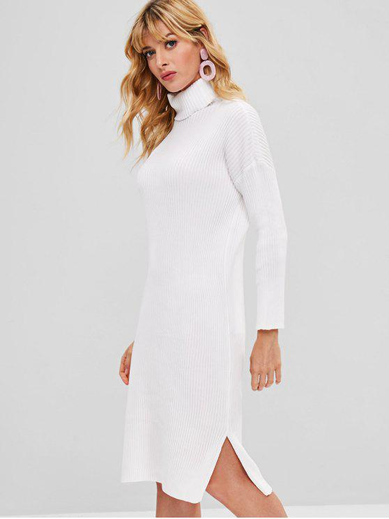 outfits Turtleneck Slit Bodycon Sweater Dress - WHITE ONE SIZE