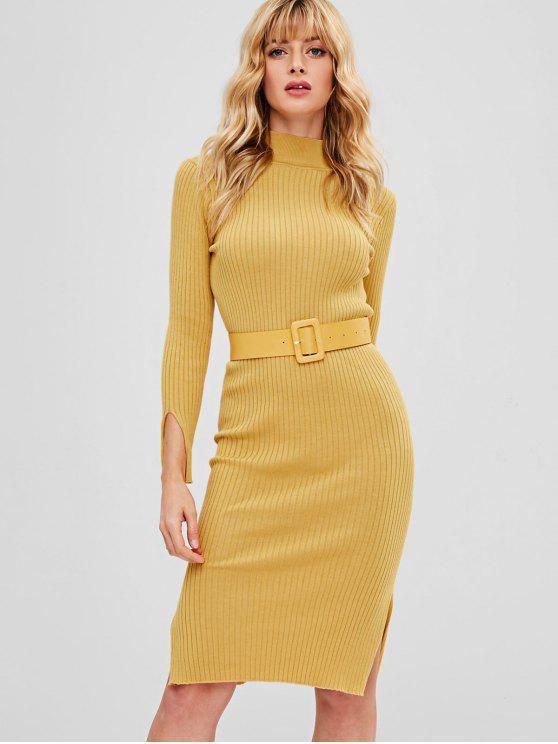 chic Bodycon Slit Belted Sweater Dress - MUSTARD ONE SIZE