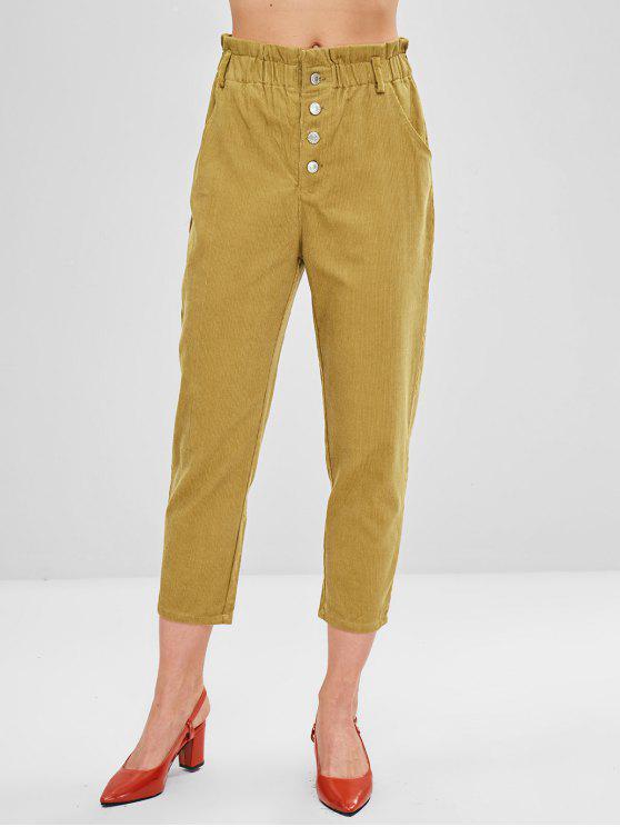 Pantaloni A Vita Alta Di Velluto A Coste - Fiore Giallo M