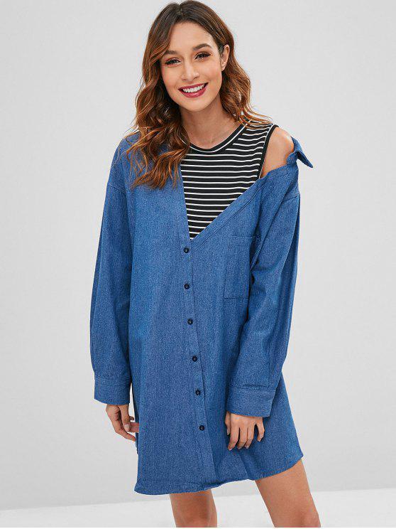 trendy Layered Look Denim Shirt Dress - BLUE S