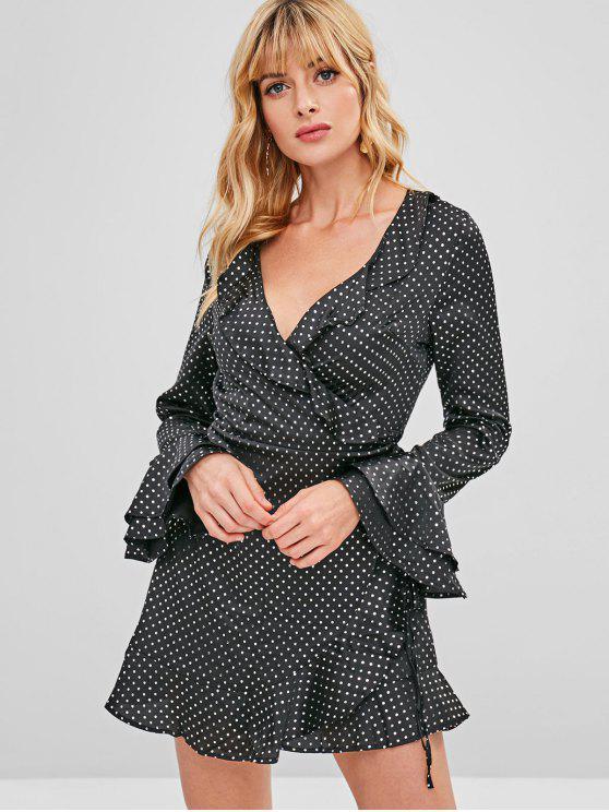 Manga longa polka dot mini envoltório vestido - Preto L