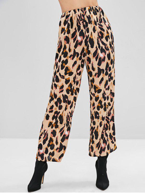 Calças de cintura alta de perna larga com estampa de leopardo - Leopardo S