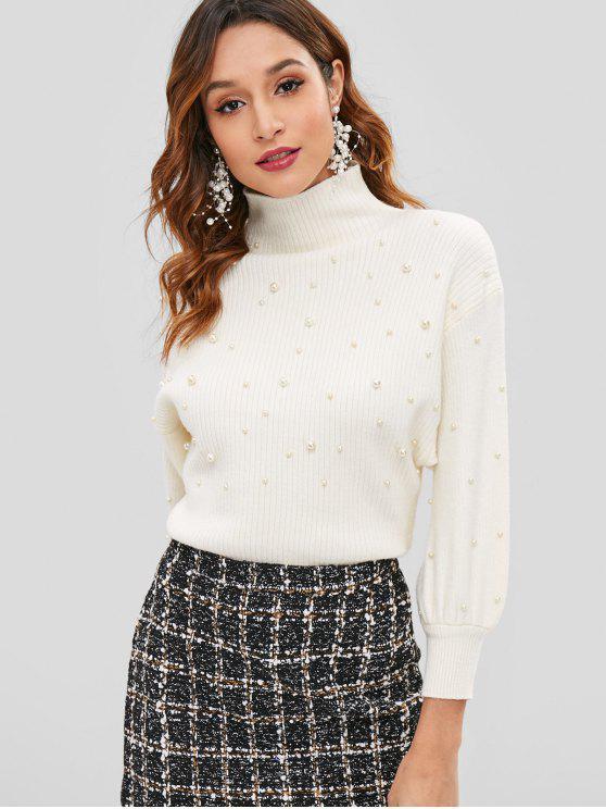 Camisola de pescoço falso de pérolas falsas - Branco Quente Um Tamanho