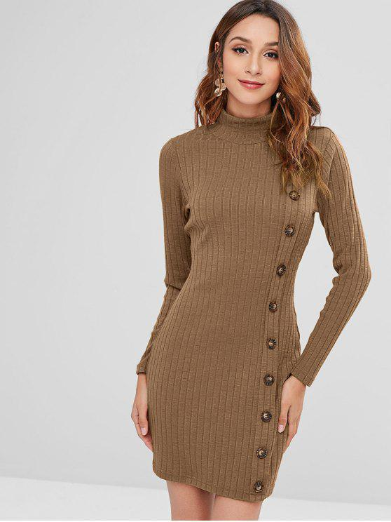 women ZAFUL High Neck Buttoned Short Knit Dress - DARK KHAKI L