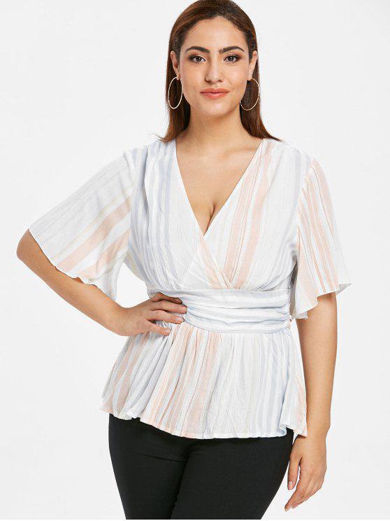 outfits ZAFUL Striped Plus Size Surplice Blouse - MULTI L