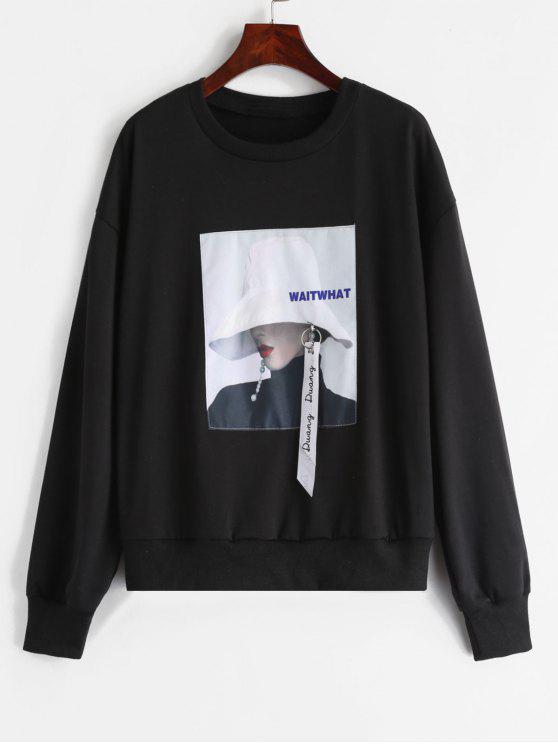 lady ZAFUL Portrait Patched Embellished Sweatshirt - BLACK XL