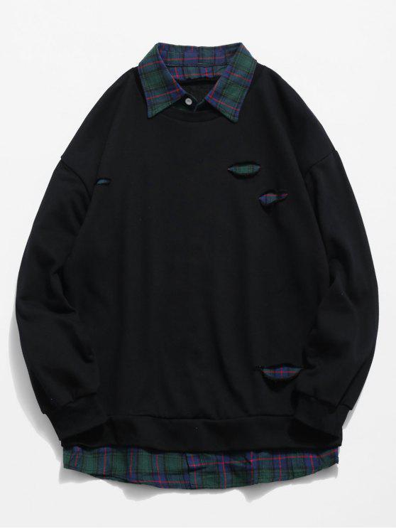 shop Plaid Shirt False Two Piece Sweatshirt - BLACK M