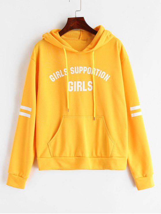 latest ZAFUL Pouch Pocket Graphic Terry Hoodie - BRIGHT YELLOW S