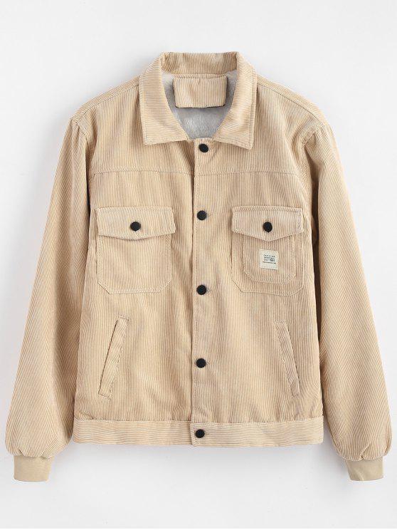 جيوب مزينة بطبعات جلد كحلي - ضوء الكاكي XL