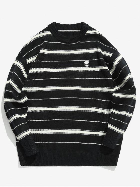 Maglione Pullover Bicolore A Righe - Nero L