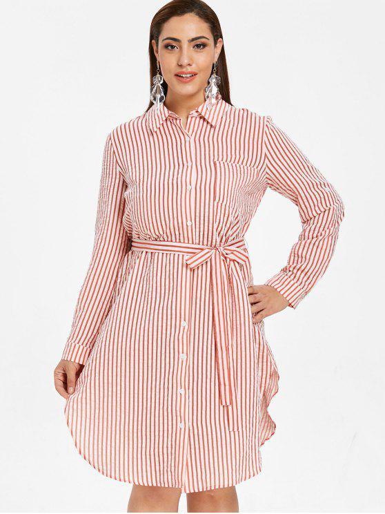 fashion ZAFUL Plus Size Striped Shirt Dress with Belt - MULTI 2X