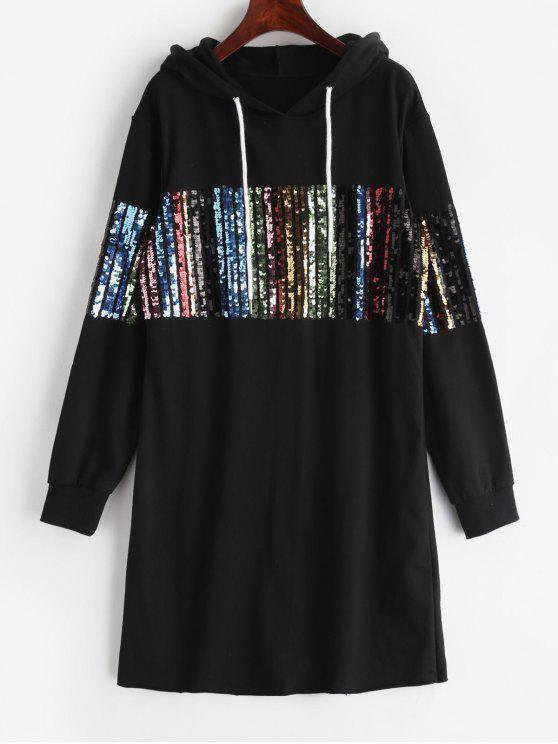 ZAFUL Vestido curto de lantejoulas com capuz - Preto L