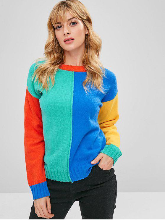 sale ZAFUL Pullover Color Block Sweater - MULTI ONE SIZE