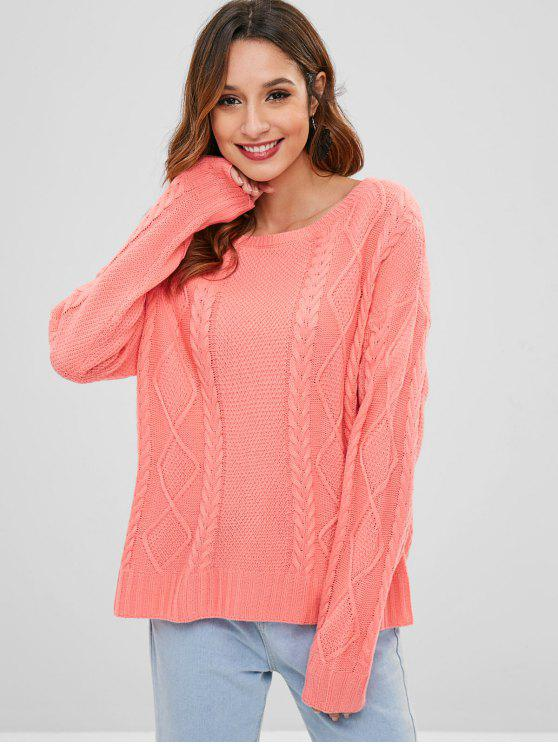buy ZAFUL Pullover Cable Knit Sweater - LIGHT CORAL ONE SIZE