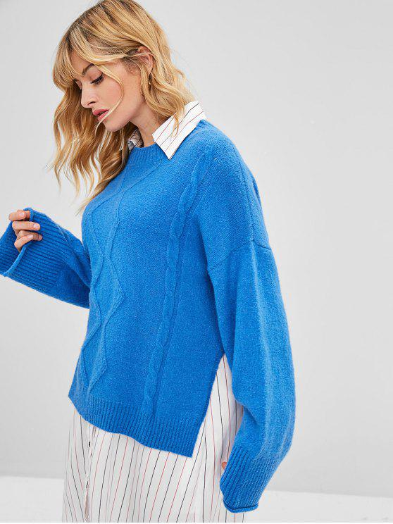 women's ZAFUL Slit Cable Knit Sweater - DODGER BLUE ONE SIZE