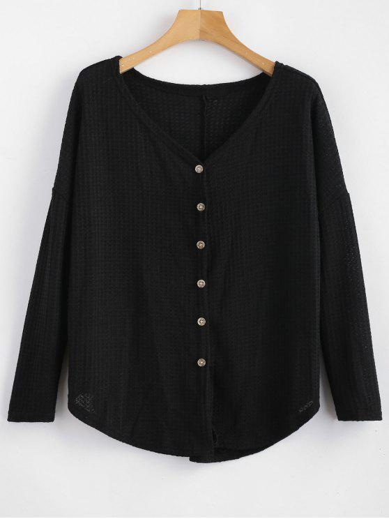 womens Button Up Drop Shoulder V Neck Cardigan - BLACK M