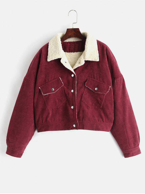 best Borg Lined Corduroy Winter Jacket - RED WINE L