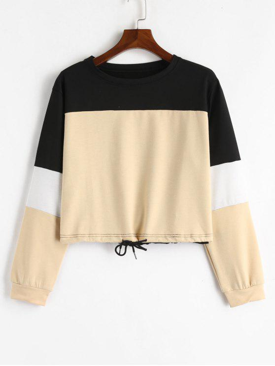 unique Drawstring Color Block Pullover Sweatshirt - KHAKI L