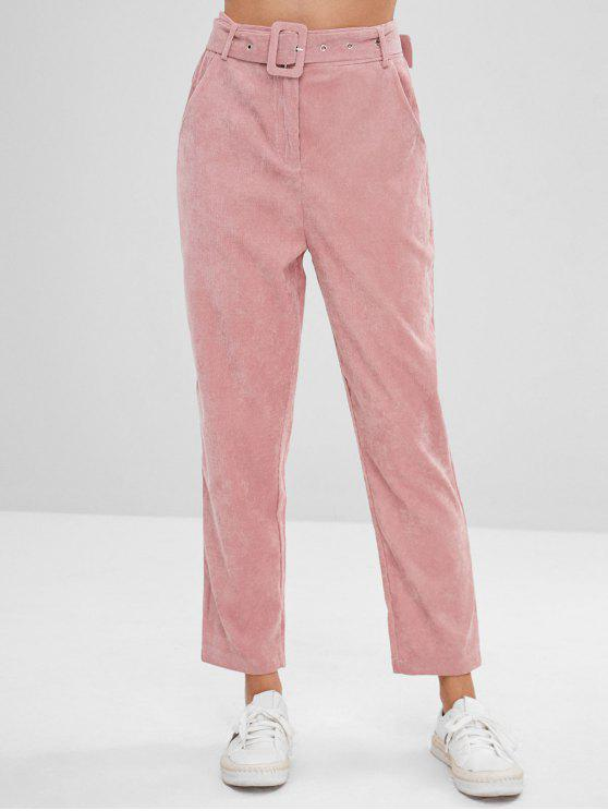 affordable Solid Color Belted Corduroy Pants - PINK XL