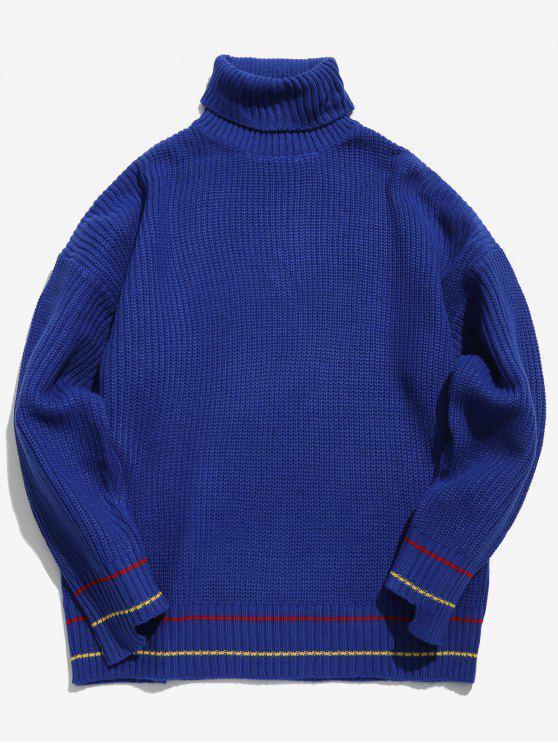 Maglione Pesante A Collo Alto A Spalle Oblique Con Bordi A Righe - Blu Dodger  M