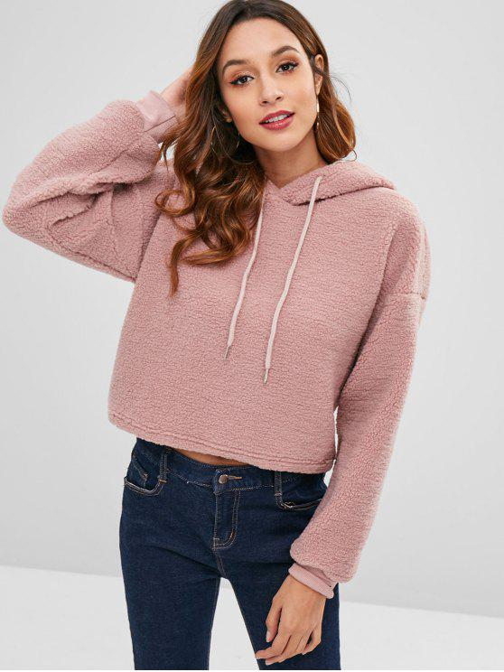 chic ZAFUL Drawstring Cropped Faux Shearling Teddy Hoodie - KHAKI ROSE M