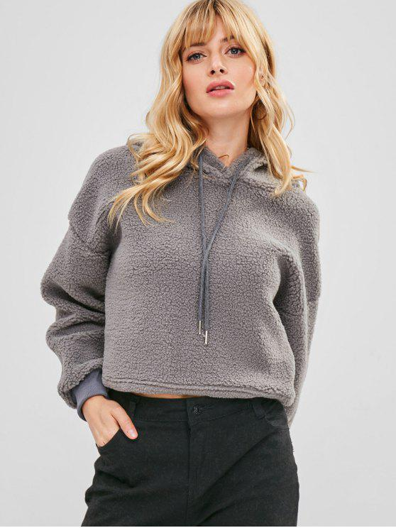 affordable ZAFUL Drawstring Cropped Faux Shearling Teddy Hoodie - GRAY M