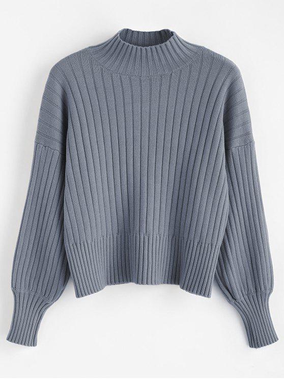 Pull col montant à épaules dénudées - Bleu-gris Taille Unique
