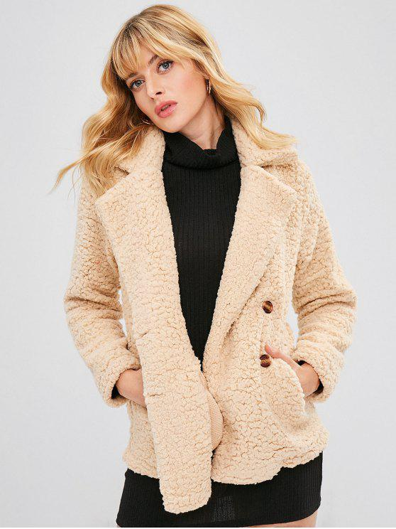 Dupla Breasted Lapela Fofo Teddy Coat - Champanhe M