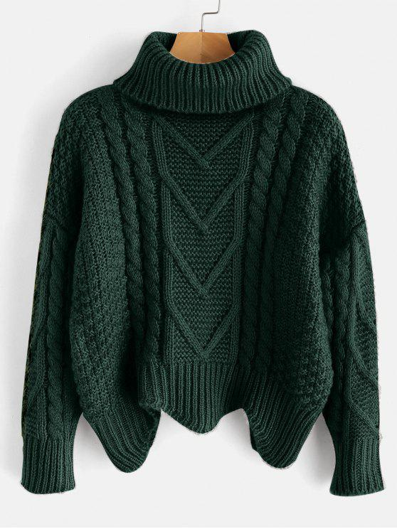 outfits Chunky Knit Turtleneck Sweater - DARK FOREST GREEN ONE SIZE