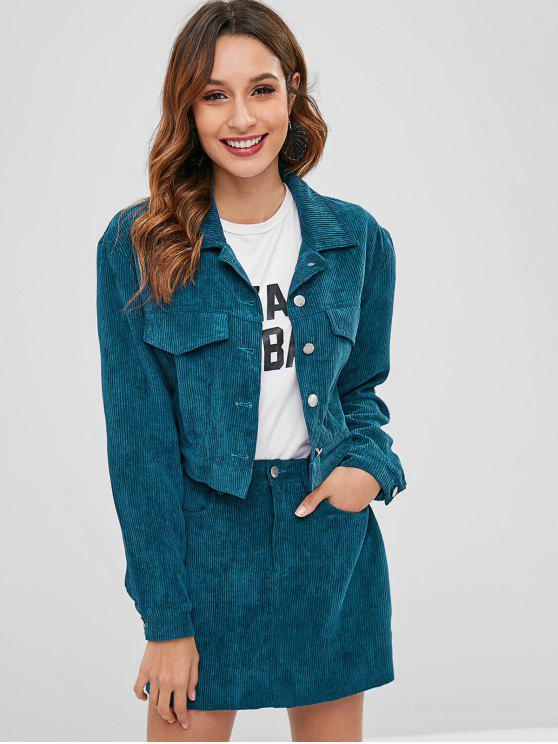 fashion ZAFUL Corduroy Cropped Jacket And Skirt Set - PEACOCK BLUE S