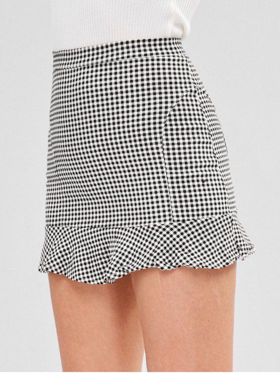 Short Gingham Ruffled Skirt   Multi L by Zaful