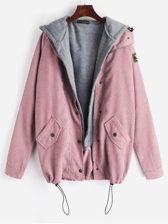 lady ZAFUL Fleece Vest and Corduroy Jacket Twinset - LIGHT PINK S